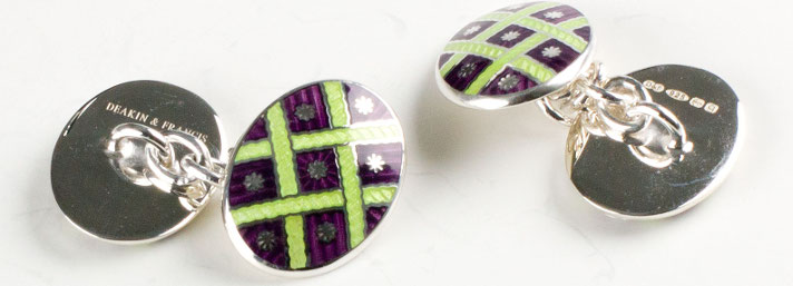 Silver Enamelled Cufflinks