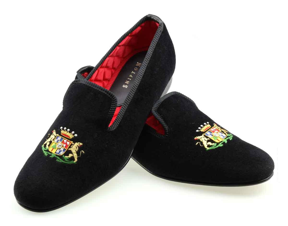 Mens Hand Sewn Crested Slipper Size 10 5 UK