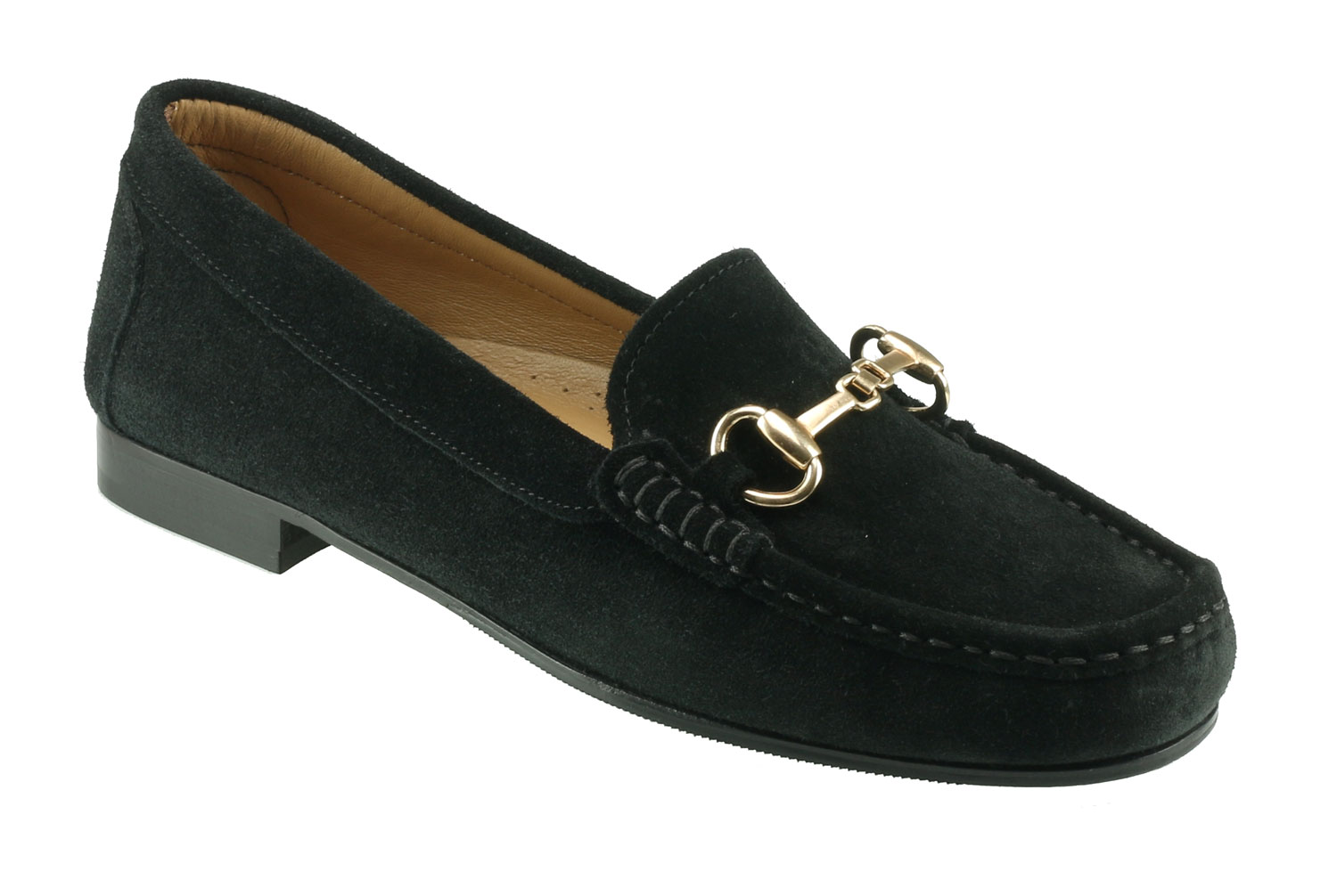 a38198e0e58 Ortona Ladies Black Suede Snaffle Loafer