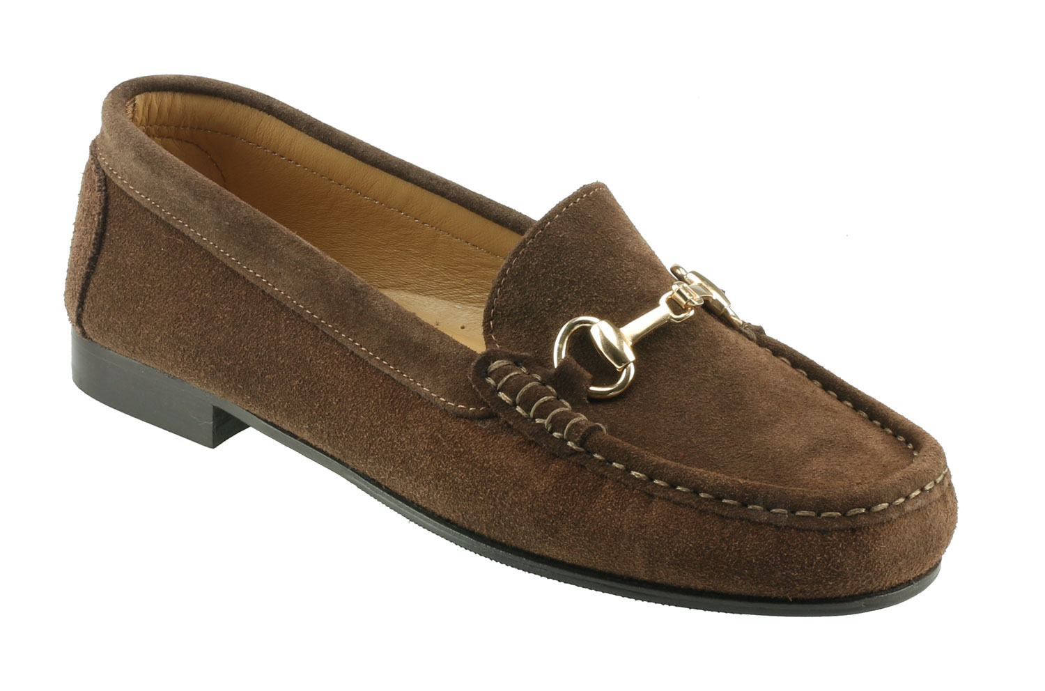 Ortona Ladies Dark Brown Suede Snaffle Loafer