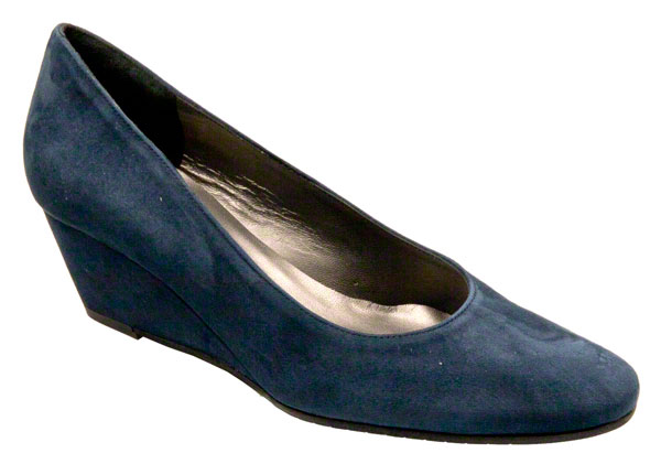Navy Wedge Court Shoes