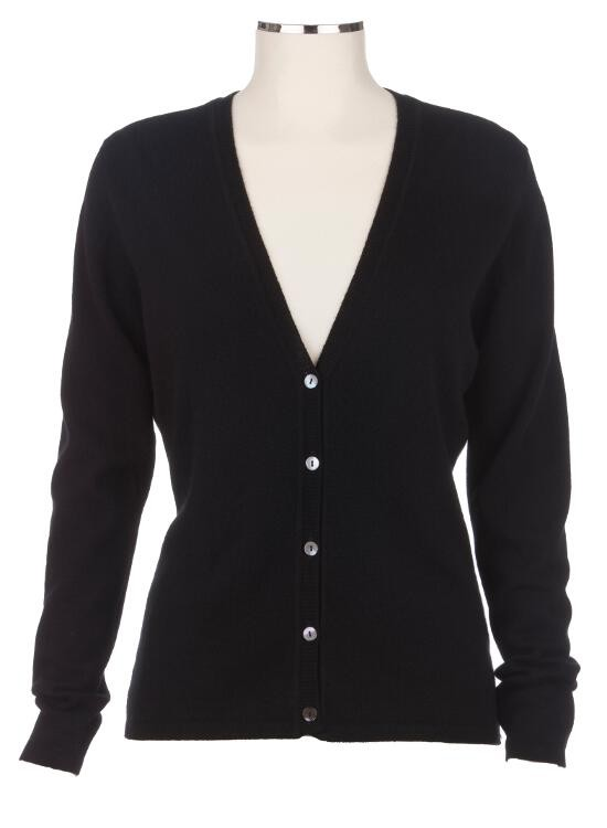 4be2e04f76 Ladies Black Cashmere Fitted V Neck Cardigan
