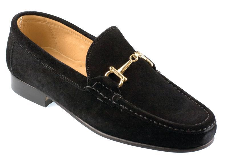 Orsini Mens Black Suede Horsebit Snaffle Loafer