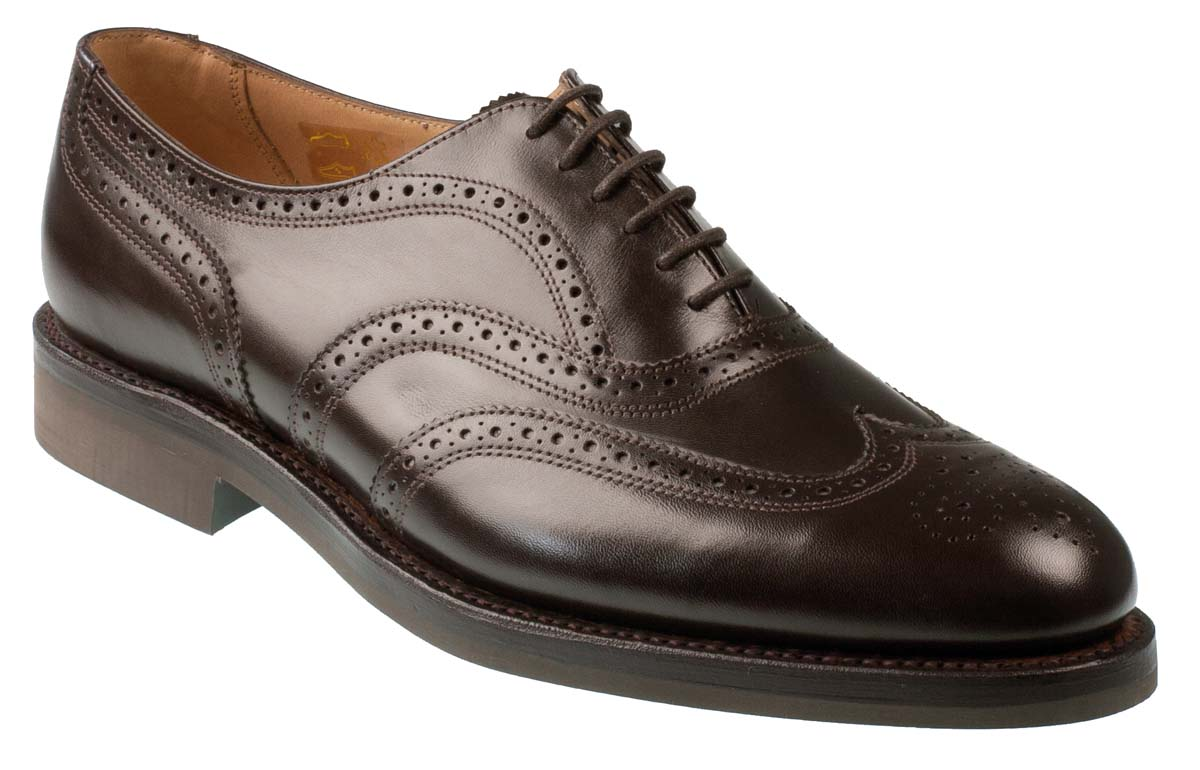 Oslo Men S Dark Brown Calf Full Brogues With Rubber Sole