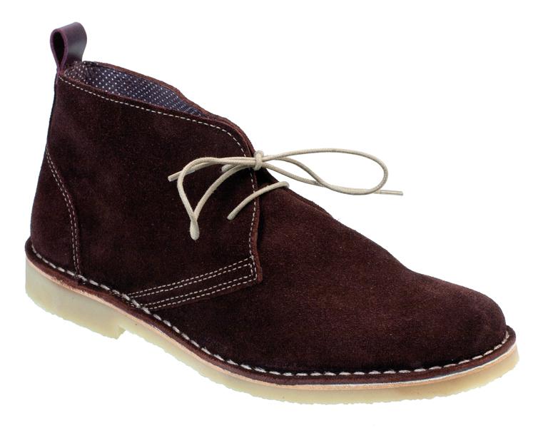 SALINA Mens Summer Chukka Boots Burgundy Suede